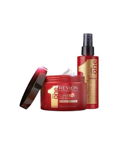 Revlon UniqOne Set per capelli, maschera spray 150ml + super mask 300ml.